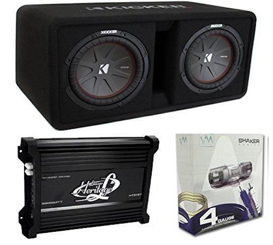 "Best Car Subwoofer Amplifier: 8. Kicker 43DCWR102 10"" 2400W Dual Car Subwoofer"