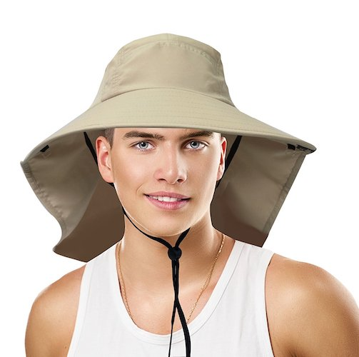 2a3f8775b9e6d 10  Sun Blocker Unisex Large Bill Neck Flap Hat Sun Protection Camping Hiking  Hunting Fishing Cap