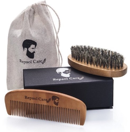 5: Repsol Care Natural Boar Bristle Beard Brush and Handmade Beard Comb Kit for Men Beard and Moustache