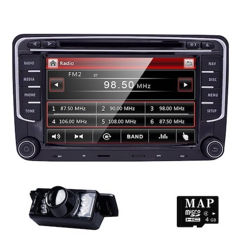 3. HD 7 Inch Double Din Car Stereo GPS DVD Navigation for VW Golf Polo Passat Tiguan Jetta EOS+US Map+Camera Capacitive Screen