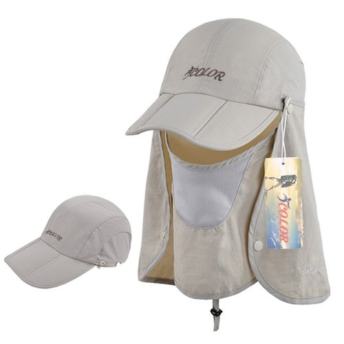 d64595ed016 8  ICOLOR Sun Caps Flap Hats 360° Solar Protection Folding UPF 50+ Sun Cap  Removable Neck and Face Flap Cover Caps for Man Women Baseball