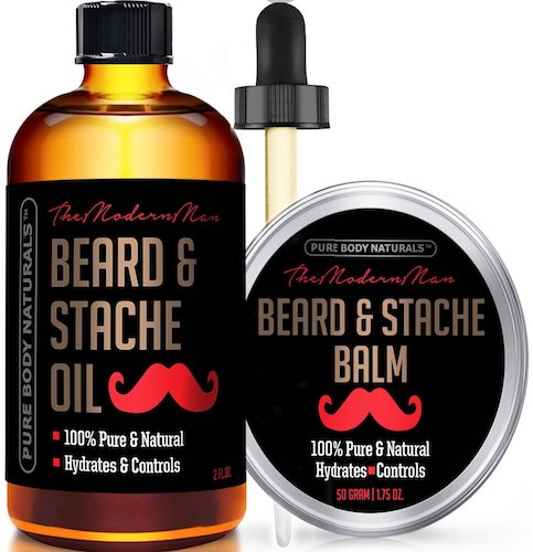 4: Beard Oil & Beard Balm Mens Gift Set ( 2 oz + 1.75 oz) Mustache Oil Beard Kit All Natural Beard Conditioner ( Beard Oil - Argan & Apricot Oil ) ( Balm - Musk & Amber) by Pure Body Naturals