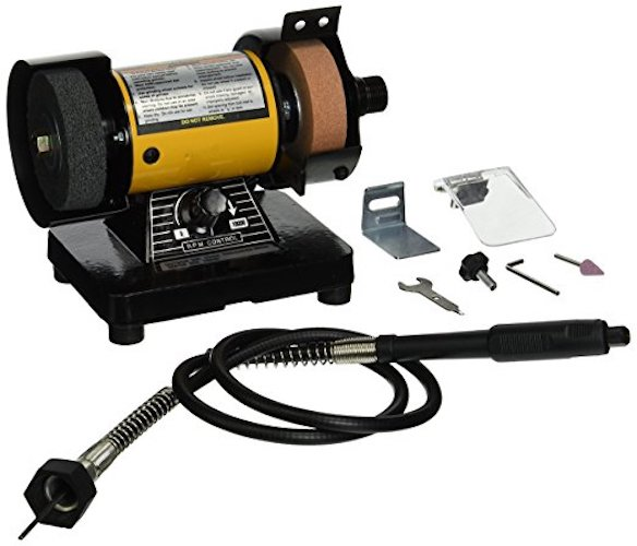 7. TruePower 199 Mini Multi Purpose Bench Grinder and Polisher with Flexible Shaft, Tool Rest and Safety Guard, 3-Inch