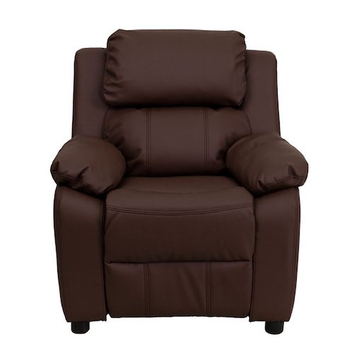 4. Flash Furniture BT-7985-KID- BRN-LEA-GG Deluxe Heavily Padded Contemporary Brown Leather Kids Recliner with Storage Arms