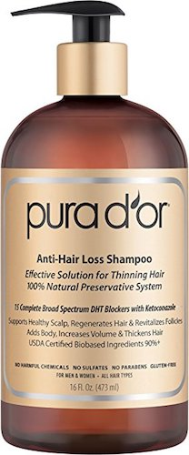 1. PURA D'OR Anti-Hair Loss Premium Organic Argan Oil Shampoo (Gold Label), 16 Fluid Ounce