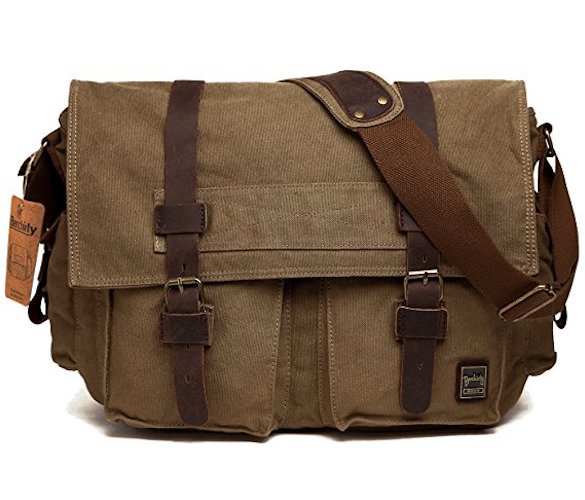 Best Men's Messenger Bags: 1. Men's Shoulder Bag, Berchirly Vintage Military Men Canvas Messenger Bag for 13.3-17.3