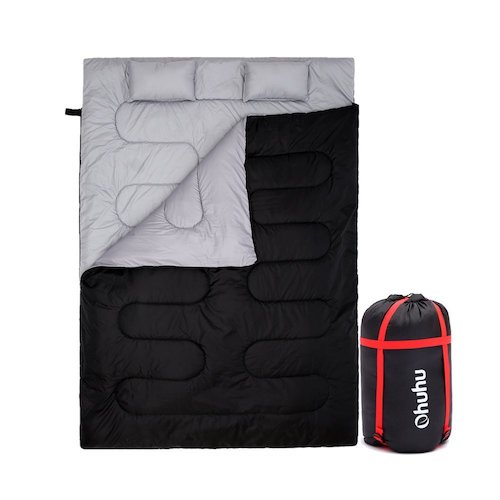 6. Ohuhu Double Sleeping Bag with 2 Pillows and a Carrying Bag for Camping, Backpacking, Hiking