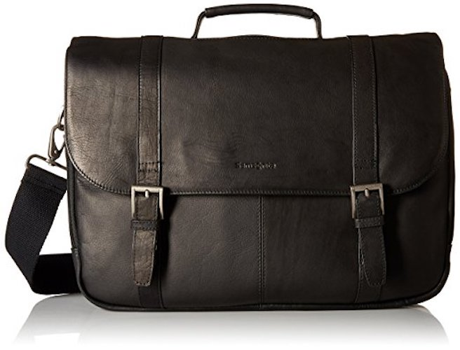 Best Men's Messenger Bags: 2. Samsonite Colombian Leather Flap-Over Laptop Messenger Bag