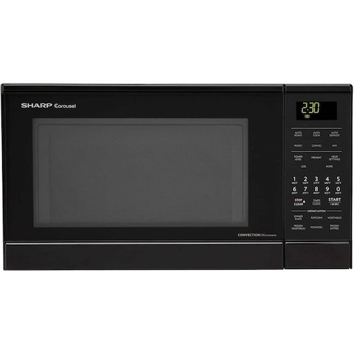 6. Sharp R830BK 900 Watts Convection Microwave Oven, 0.9 cu.ft, Black