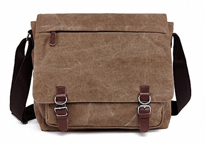 Best Men's Messenger Bags: 5. Kenox Vintage Canvas Laptop Messenger Bag School Bag Business Briefcase 16 Inches