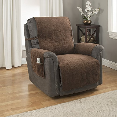 2. GPD Heavy-Weight Microsuede Pebbles Furniture Protector and Slipcover with Anti-slip Backing for Recliner Chair, Chocolate
