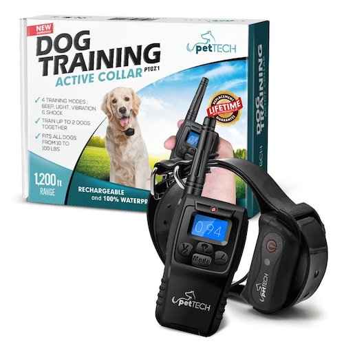 Dog No-Bark Collars: 1. PetTech Remote Controlled Dog Training Collar, Rechargeable and Waterproof, All Size Dogs (10Lbs - 100Lbs), 1200 Foot Range