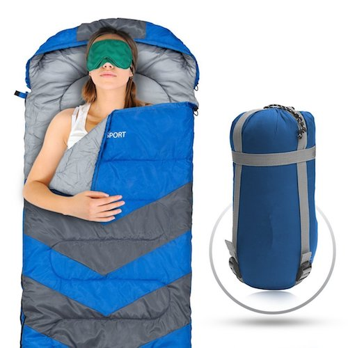 7. Sleeping Bag – Envelope Lightweight Portable, Waterproof, Comfort With Compression Sack - Great For 4 Season Traveling, Camping, Hiking, & Outdoor Activities. (SINGLE)
