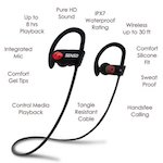 Best Earbuds under 50: 2. SENSO Bluetooth Headphones, Best Wireless Sports Earphones w/ Mic IPX7 Waterproof HD Stereo Sweatproof Earbuds for Gym Running Workout 8 Hour Battery Noise Cancelling Headsets