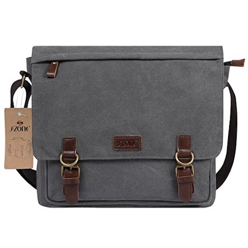 Best Men's Messenger Bags: 7. S-ZONE Vintage Canvas Messenger Bag School Shoulder Bag for 13.3-15inch Laptop Business Briefcase