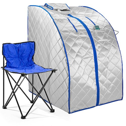 Best Portable Saunas: 3. Durasage Xlarge Infrared IR FAR Portable Indoor Personal SPA Sauna With Heating Food Pad And Chair