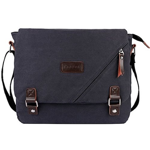 Best Men's Messenger Bags: 4. ibagbar Canvas Messenger Bag Shoulder Bag Laptop Bag Computer Bag Satchel Bag Bookbag School Bag Working Bag for Men and Women