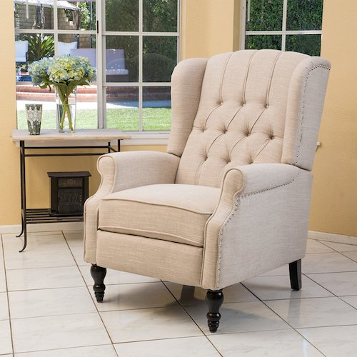 9. Elizabeth Light Beige Tufted Fabric Arm Chair Recliner