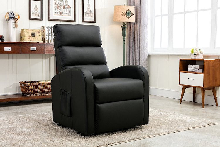 7. Divano Roma Furniture - Classic Plush Bonded Leather Power Lift Recliner