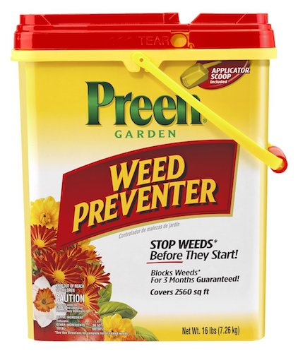 Best Grass & Weed Killers: 7. Preen Garden Weed Preventer - 16 lb. pail Covers 2560 sq. ft.