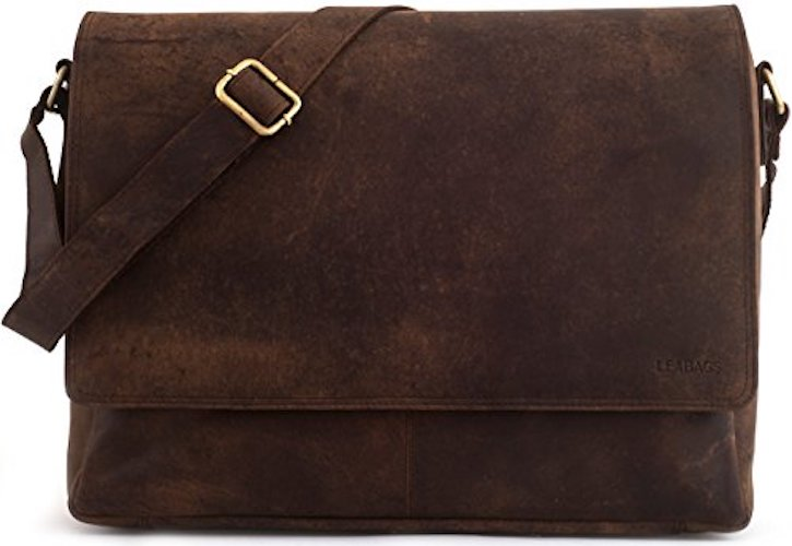 7. LEABAGS Oxford genuine buffalo leather messenger bag in vintage style