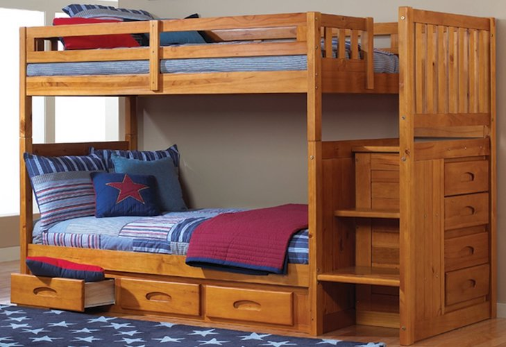 11. Mission Twin Over Twin Staircase Bunk Bed with 3 Drawers in Honey Finish
