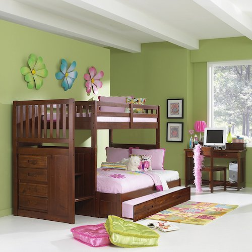 9. Mission Twin Over Full Staircase Bunk Bed with Trundle in Merlot Finish