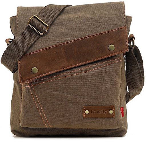11. EcoCity Unisex Vintage Small Canvas Shoulder Messenger Bag