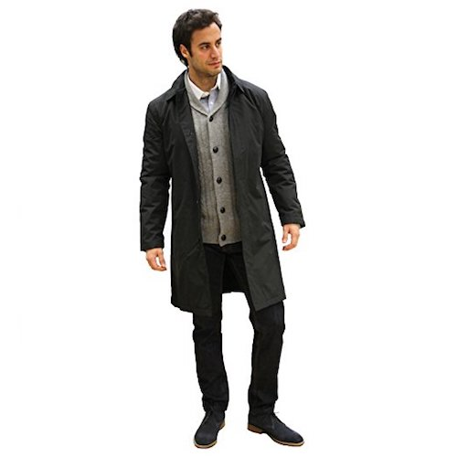 Top 10 Best Men's black Trench Coats: 1. Carter and jones men's rain coat