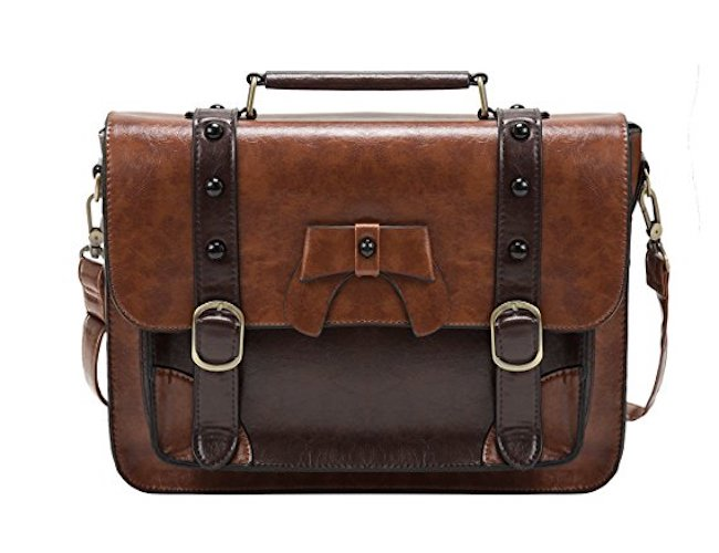4. ECOSUSI Vintage Crossbody Messenger Bags Briefcase Girl Purse Handbags for Women