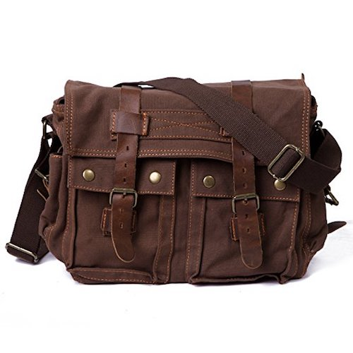 15. HDE Vintage Canvas Military Tactical Ammo Style Shoulder Messenger Field Bag