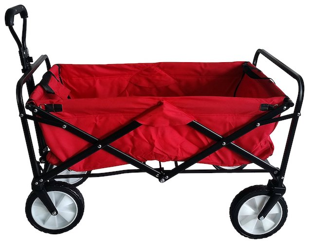 6. SECO Heavy Duty Folding Utility Wagon Wheelbarrow Garden Cart Sports Cart Shopping Buggy , Red, 220 lb capacity
