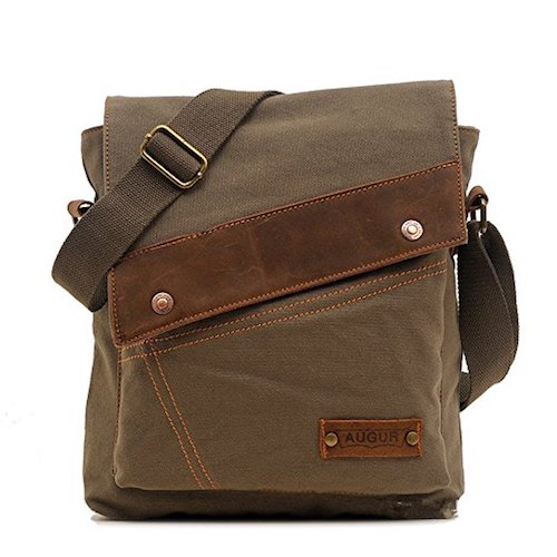 20. Sechunk Cotton Canvas Leather Messenger bags Shoulder Bag
