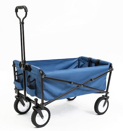 8. Seina Collapsible Folding Utility Wagon Garden Cart Shopping Beach Outdoors, Blue