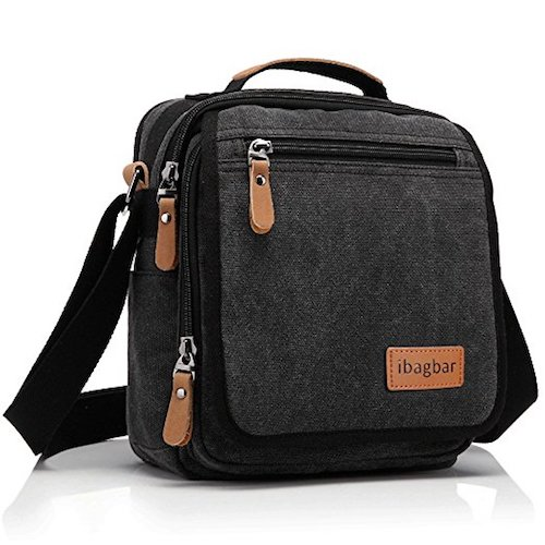 10. ibagbar Small Canvas Shoulder Bag Messenger Bag Work Bag