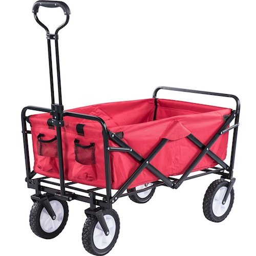 7. Serenita Collapsible Garden Cart Folding Utility Wagon Shopping Yard Beach, Red