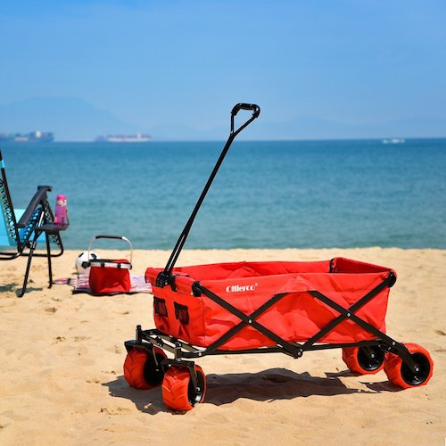 5. Ollieroo Outdoor Utility Wagon Folding Collapsible Garden Beach Shopping Cart With 7''x4'' Thick Rubber Wheels 175 Pound Capacity Red