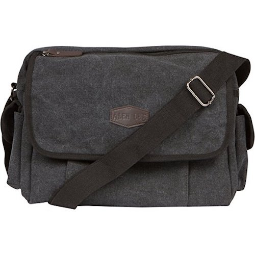 17. Vintage Retro Canvas Messenger Bag For Men & Women by Alen Lee – Work & Business 13 in Laptop Shoulder Crossbody Satchel Bag – Multi-Pocket Book Bag – Available In Coffee, Black & Gray Canvas