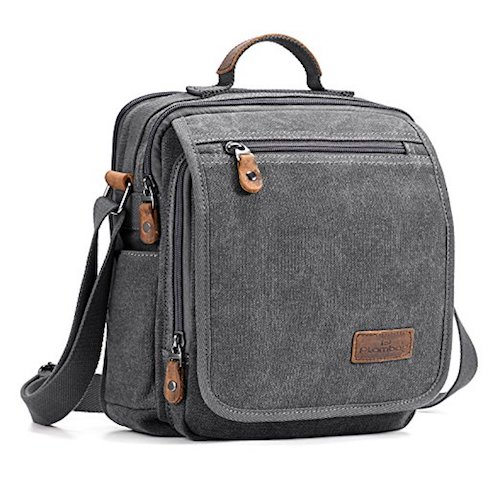 13. Plambag Canvas Messenger Bag Small Travel School Crossbody Bag