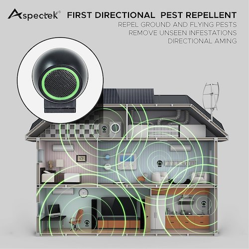 9. Aspectek Rotatable Ultrasonic Pest Control, Pest Repeller with Side Outlet