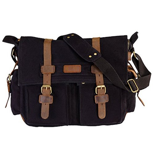 12. LUXUR Casual Vintage Canvas Messenger Bag Military Shoulder Bag for 15 Inch Laptop