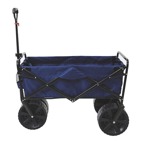 4. Mac Sports Heavy Duty Collapsible Folding All Terrain Utility Beach Wagon Cart, Blue/Black