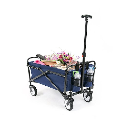 2. YSC Wagon Garden Folding Utility Shopping Cart,Beach Red (Navy Blue)