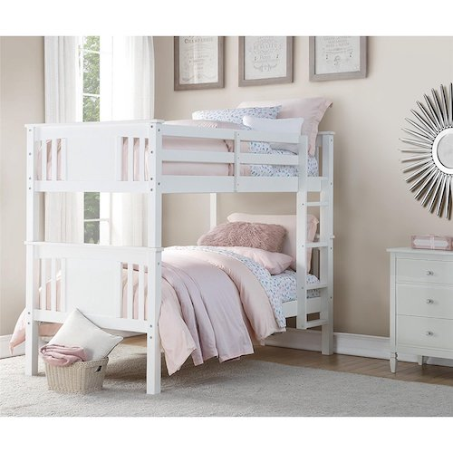 3. Dorel Living Dylan Bunk Bed, Twin, White
