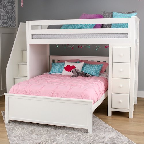 8. Jackpot! Deluxe All-in-One Solid Hardwood Twin-Size Storage Loft Bed with Staircase over Full-Size Bed, White