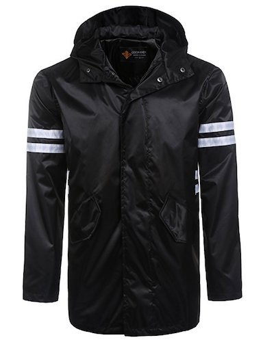 Top 10 Best Men's black Trench Coats : 7. Coofandy Men's hooded light weight zip-up water proof raincoat jacket