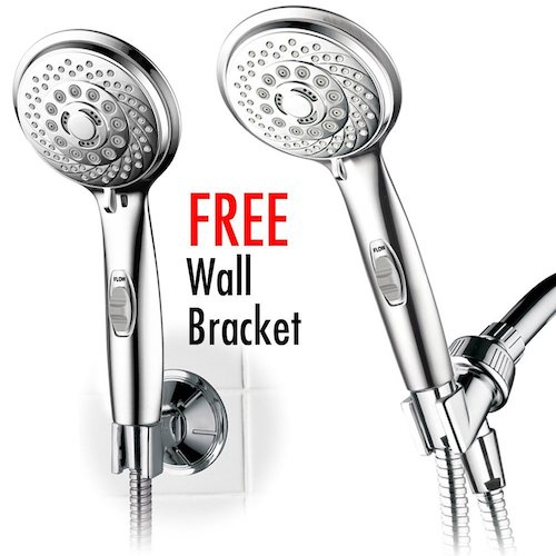 4. HotelSpa 7-setting AquaCare Series Spiral Handheld Shower Head Luxury Convenience Package with Pause Switch, Extra-long Hose & Bonus Low-Reach Bracket