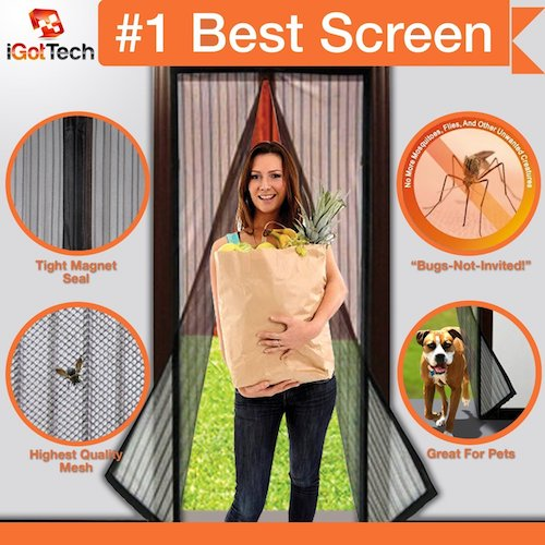 "8. Magnetic Screen Door, Full Frame Velcro. Fits Door Openings up to 34""x82"" MAX"