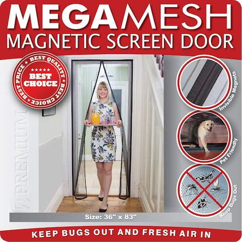 7. Magnetic Screen Door Heavy Duty Reinforced Mesh & FULL FRAME VELCRO Fits Doors Up to 36