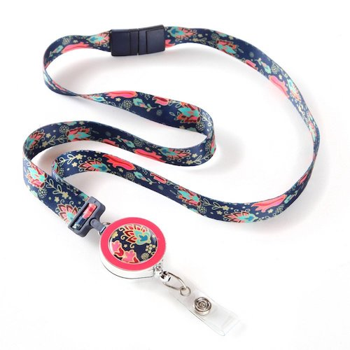 10. Tapestry Ribbon Lanyard with ID Badge Reel For Women with Breakaway Safety Clasp